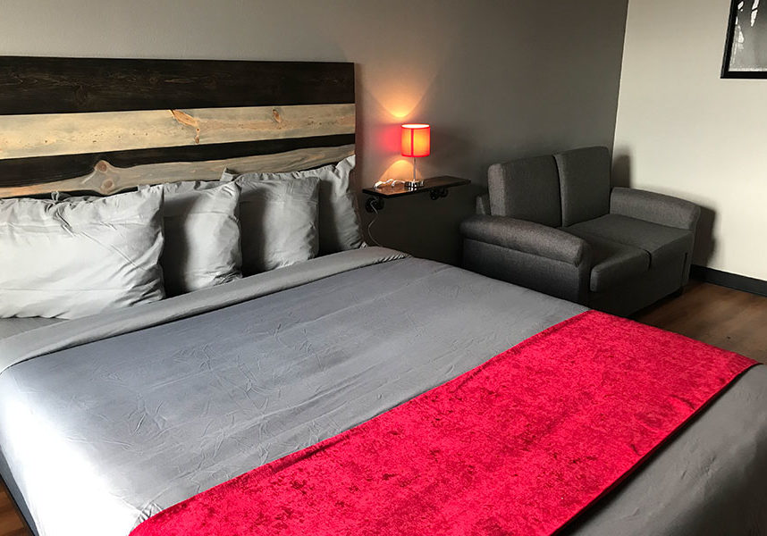 guest room with one king bed and a sofa